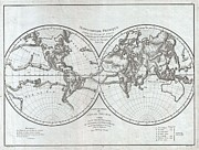 Ill-fated Framed Prints - 1779 Pallas and Mentelle Map of the Physical World  Framed Print by Paul Fearn