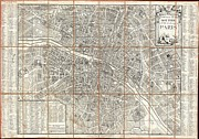 Against The War Photos - 1780 Esnauts and Rapilly Case Map of Paris by Paul Fearn