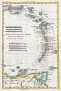 Undersea.  Prints - 1780 Raynal and Bonne Map of Antilles Islands Print by Paul Fearn