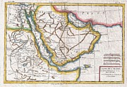 Undersea.  Prints - 1780 Raynal and Bonne Map of Arabia and Abyssinia Print by Paul Fearn