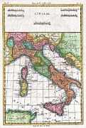Northern Africa Framed Prints - 1780 Raynal and Bonne Map of Italy Framed Print by Paul Fearn