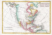 1579 Framed Prints - 1780 Raynal and Bonne Map of North America Framed Print by Paul Fearn