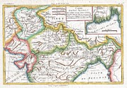 Undersea.  Prints - 1780 Raynal and Bonne Map of Northern India Print by Paul Fearn