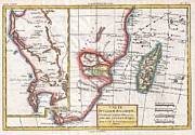 Just For Today Posters - 1780 Raynal and Bonne Map of South Africa Zimbabwe Madagascar and Mozambique Poster by Paul Fearn