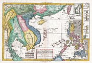 Undersea.  Framed Prints - 1780 Raynal and Bonne Map of Southeast Asia and the Philippines Framed Print by Paul Fearn