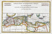 The Crusades Framed Prints - 1780 Raynal and Bonne Map of the Barbary Coast of Northern Africa Framed Print by Paul Fearn