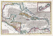 Undersea.  Framed Prints - 1780 Raynal and Bonne Map of the West Indies Caribbean and Gulf of Mexico Framed Print by Paul Fearn