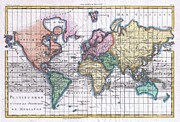 A Mercator Projection Of The World Posters - 1780 Raynal and Bonne Map of the World Poster by Paul Fearn