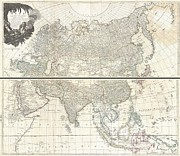 Beneath The Surface Prints - 1784 D Anville Wall Map of Asia Print by Paul Fearn