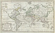 Olive Skin Posters - 1784 Vaugondy Map of the World on Mercator Projection Poster by Paul Fearn