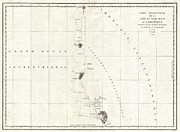 Perouse Prints - 1786 La Perouse Map of San Francisco Monterey Bay California and Oregon Print by Paul Fearn