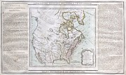 Between The Two Posters - 1789 Brion de la Tour Map of North America Poster by Paul Fearn