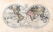 Cartography Photos - 1791 Antique World Map Die Funf Theile der Erde by Karon Melillo DeVega
