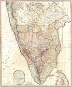 Communicated Framed Prints - 1793 Faden Wall Map of India Framed Print by Paul Fearn