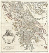 Against A Wall Framed Prints - 1794 Anville Map of Ancient Greece  Framed Print by Paul Fearn