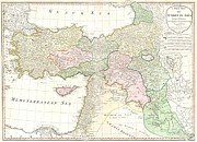 Modern Day Ruins Prints - 1794 d Anville Map of Turkey Iraq and Palestine Print by Paul Fearn