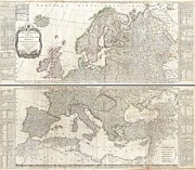 Northern Africa Framed Prints - 1794 D Anville Two Panel Wall Map of Europe Framed Print by Paul Fearn