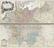 Offers Framed Prints - 1794 Delarochette Wall Map of the Empire of Germany Framed Print by Paul Fearn