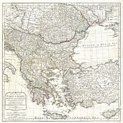 Whittle Prints - 1794 Laurie and Whittle Map of Greece Turkey and the Balkans Print by Paul Fearn