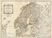 Whittle Prints - 1794 Laurie and Whittle Map of Norway Sweden Denmark and Finland Print by Paul Fearn