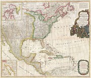 Offers Framed Prints - 1794 Pownell Wall Map of North America and the West Indies Framed Print by Paul Fearn