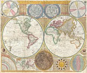 We Are All One Posters - 1794 Samuel Dunn Wall Map of the World in Hemispheres Poster by Paul Fearn