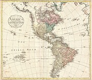 North American Inland Sea Framed Prints - 1796 Mannert Map of North America and South America Framed Print by Paul Fearn