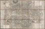 Paper Folding Art - 1797 Jean Map of Paris and the Faubourgs by Paul Fearn