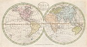 Bloated Posters - 1798 Payne Map of the World  Poster by Paul Fearn