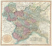Parchment Framed Prints - 1799 Cary Map of Piedmont Italy  Milan Genoa  Framed Print by Paul Fearn