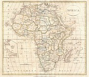 Time Related Art Posters - 1799 Clement Cruttwell Map of Africa  Poster by Paul Fearn