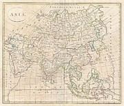 Constituent Framed Prints - 1799 Clement Cruttwell Map of Asia Framed Print by Paul Fearn