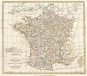 South West France Framed Prints - 1799 Clement Cruttwell Map of France in Departments Framed Print by Paul Fearn