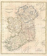 Just Right For; Posters - 1799 Clement Cruttwell Map of Ireland Poster by Paul Fearn