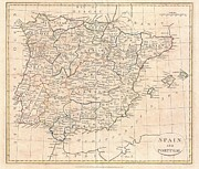 Merged Photo Prints - 1799 Clement Cruttwell Map of Spain and Portugal Print by Paul Fearn