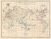A Mercator Projection Of The World Posters - 1799 Cruttwell Map of the World on Mercators Projection Poster by Paul Fearn