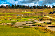 Us Open Framed Prints - #18 at Chambers Bay Golf Course - Location of the 2015 U.S. Open Tournament Framed Print by David Patterson