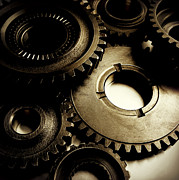 Machinery Photo Posters - Cogs Poster by Les Cunliffe