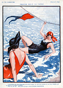 Swimsuits  Swimming Costumes Prints - La Vie Parisienne  1924 1920s France Print by The Advertising Archives