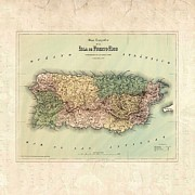 Puerto Rico Digital Art Prints - 1800 Map Puerto Rico Print by Florene Welebny