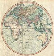 Map Of The Hand Posters - 1801 Cary Map of the Eastern Hemisphere  Poster by Paul Fearn