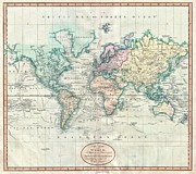 Offers Posters - 1801 Cary Map of the World on Mercator Projection Poster by Paul Fearn