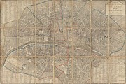 Paper Folding Art - 1802 Chez Jean Map of Paris in 12 Municipalities France by Paul Fearn