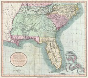 Offers Posters - 1806 Cary Map of Florida Georgia North Carolina South Carolina and Tennessee Poster by Paul Fearn