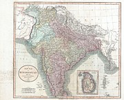 Examined Posters - 1806 Cary Map of India or Hindoostan Poster by Paul Fearn