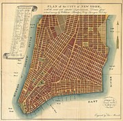 Dr. Who Photo Framed Prints - 1807 Bridges Map of New York City Framed Print by Paul Fearn
