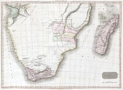 Inflamed Wall Prints - 1809 Pinkerton Map of Southern Africa Print by Paul Fearn