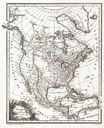 U.s On The Continent Of America Framed Prints - 1809 Tardieu Map of North America  Framed Print by Paul Fearn