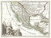 The Great Salt Lake Posters - 1810 Tardieu Map of Mexico Texas and California Poster by Paul Fearn