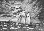 Tall Ship Drawings Prints - 1812 Privateer Lynx escaping the storm Print by Pierre Salsiccia
